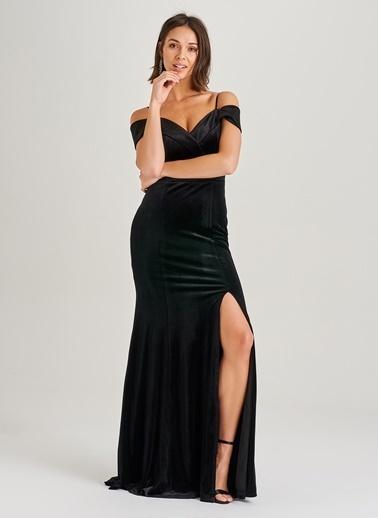 People By Fabrika Düşük Omuz Kadife Elbise Siyah